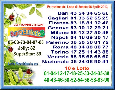 ultima estrazione lotto di sabato 06 aprile 2013 On ultima estrazione del lotto